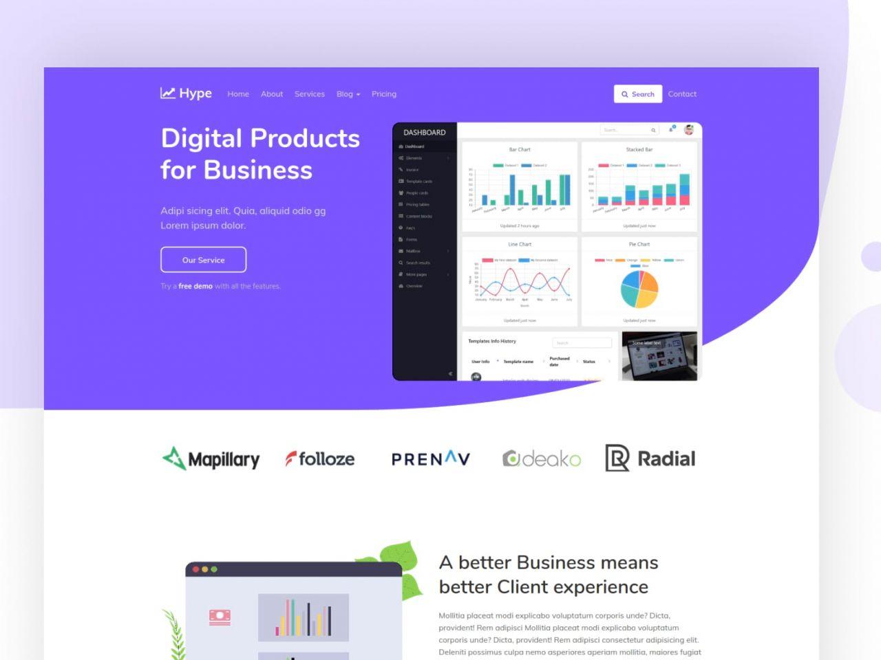 Hype-数字营销业务,公司业务网站模板