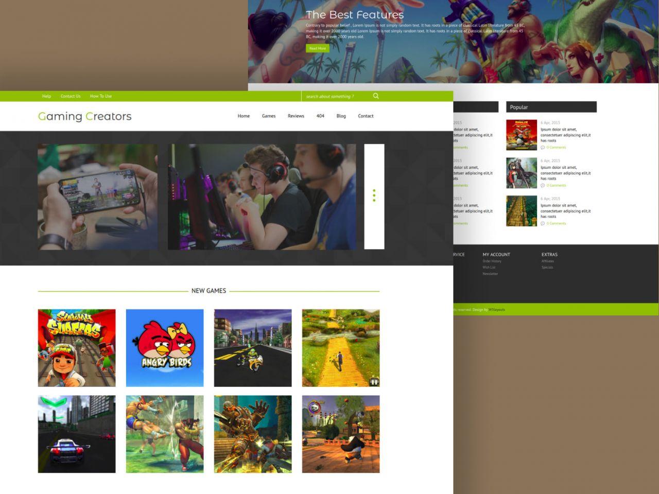Gaming Creators-游戏,博客模板