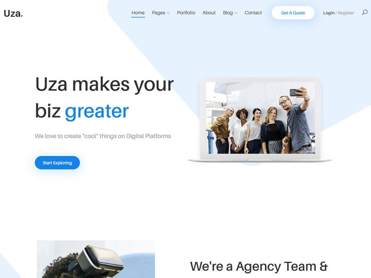 Uza-浅蓝色企业或机构官网模板