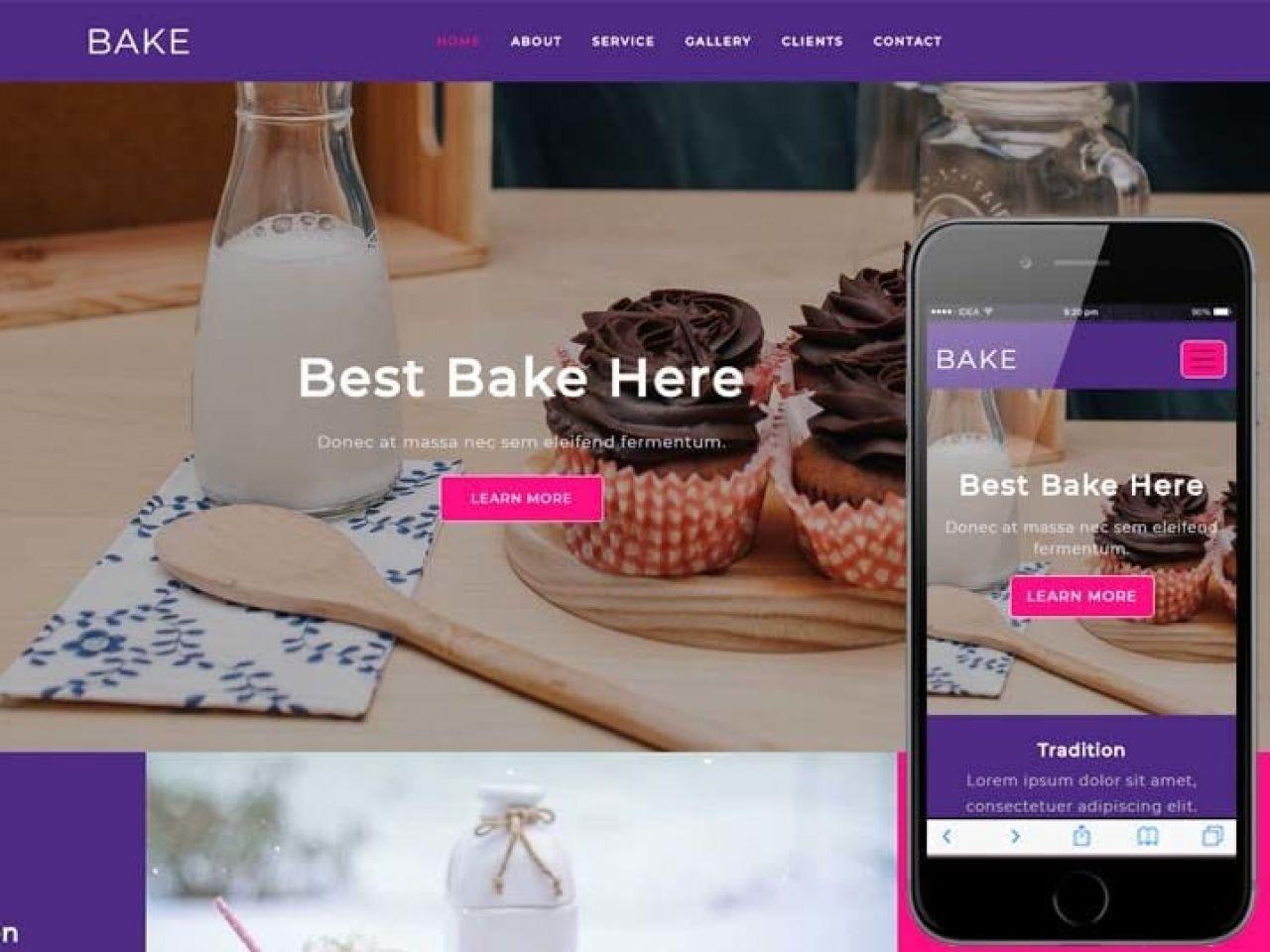 烘焙、酒店类别平面Bootstrap响应式Web网站模板